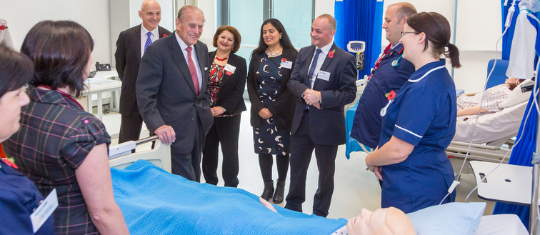 HRH The Duke of Edinburgh visits the Simulation Centre at the University of Hertfordshire in 2017.