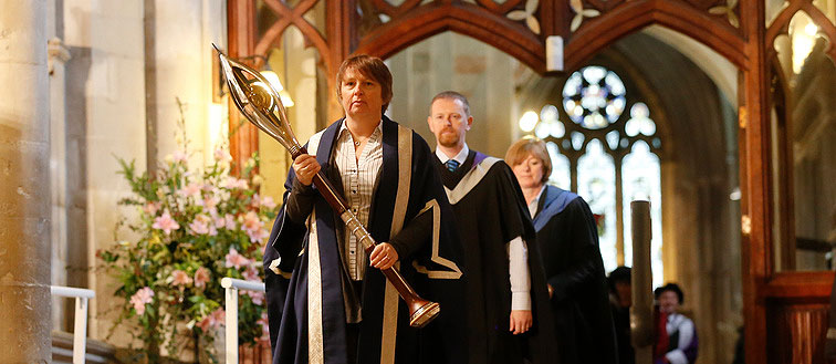 The Mace being carried at the front of the Awards Ceremony procession.