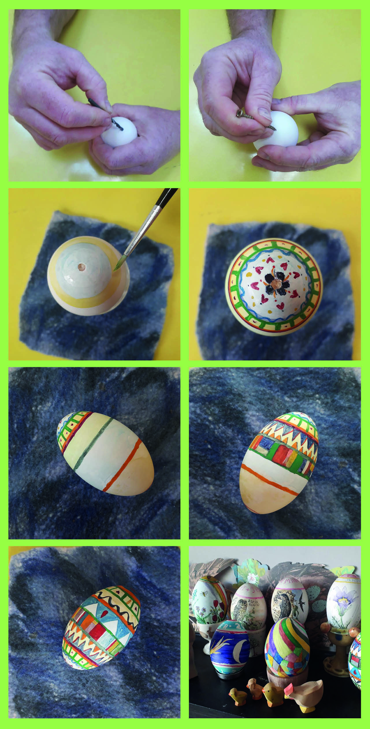 If you have decided to blow your egg, 1.Create a hole, top and bottom, of your egg to blow out the contents into a bowl. 2. Decorate the egg with patterns and stripes, decorate all around. 3. Wait for egg to dry and then display.