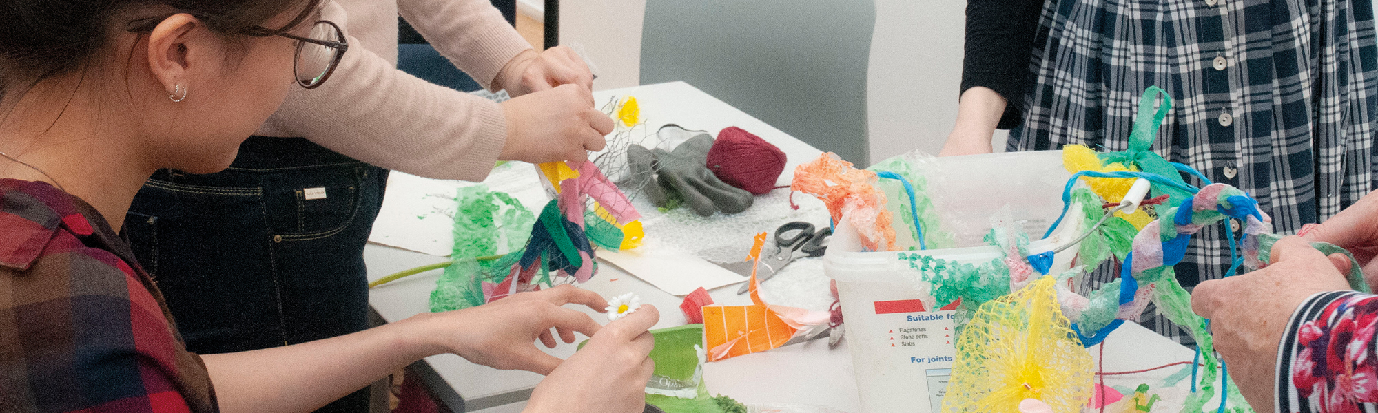 Students making arts and crafts