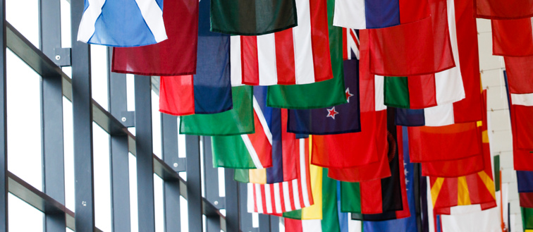 Flags from a wide range of countries.