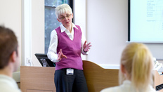 A lecturer giving a talk