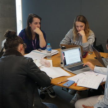 Law students working at table
