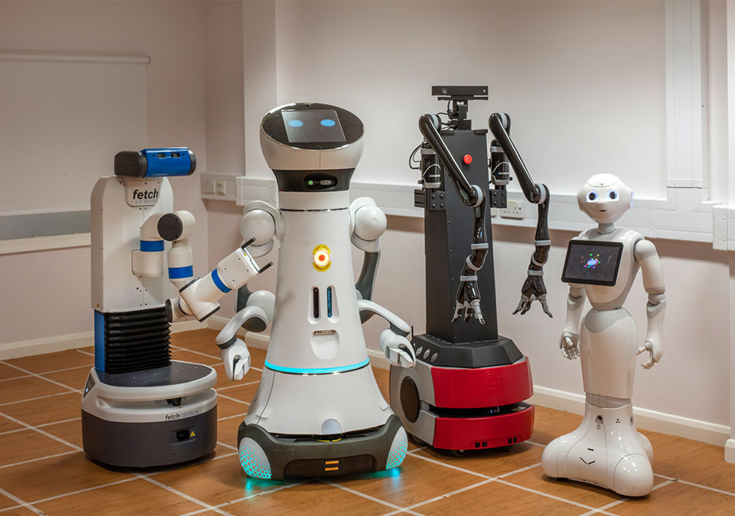 Robots from robot house lined up
