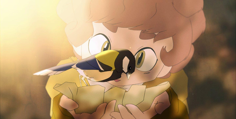 Animated character holding bird