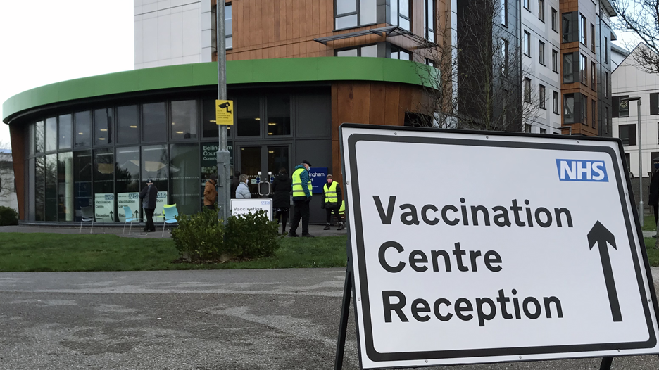 Vaccination centre sign