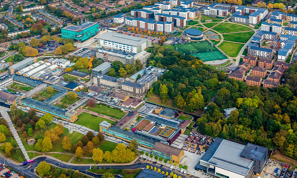 a birds eye view of college lane campus