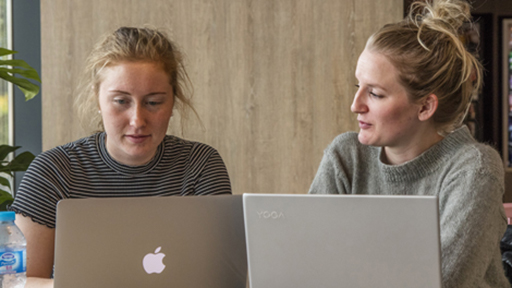 two students work on their laptops in a cafe