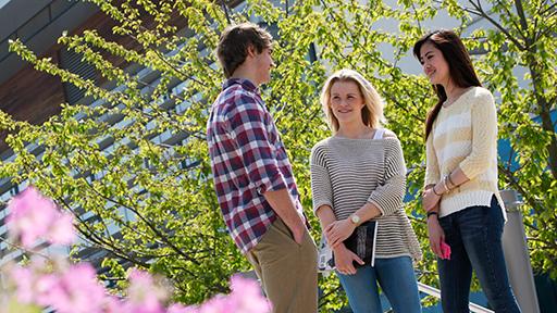 students standing around on campus
