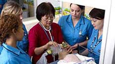 Healthcare professionals working