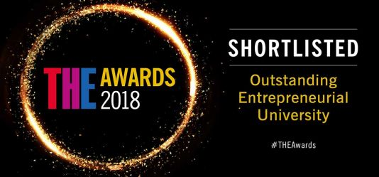 We've been shortlisted for Outstanding Entrepreneurial University Award and other top teaching and research excellence accolades