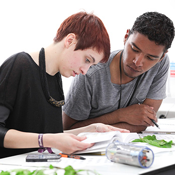 Female and male textile students