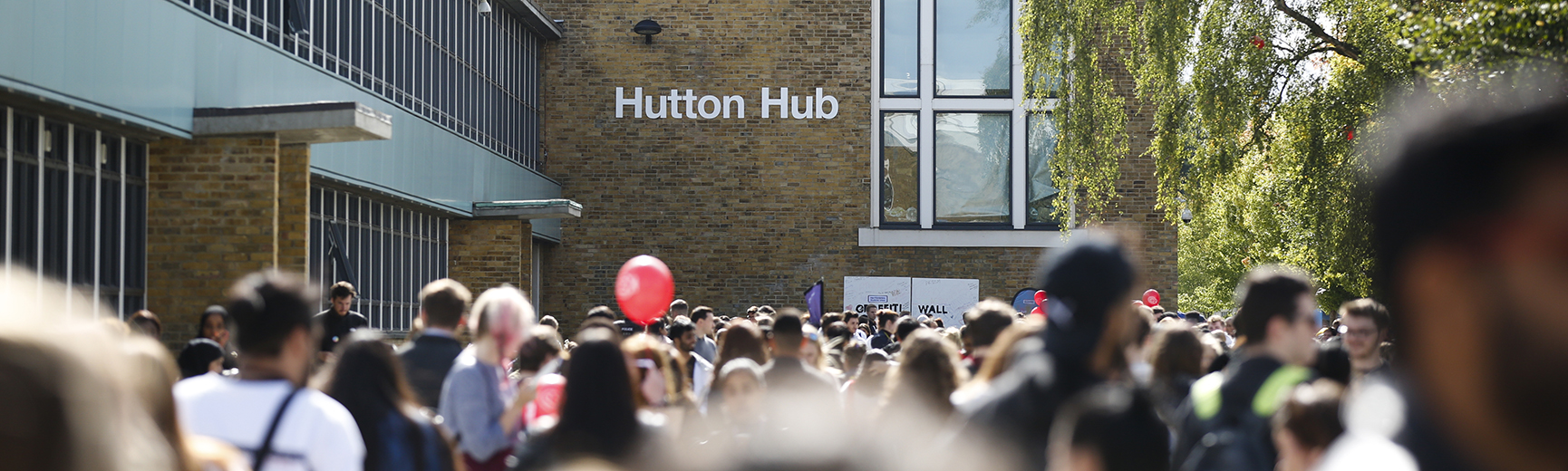 Group of people outside Hutton Hub