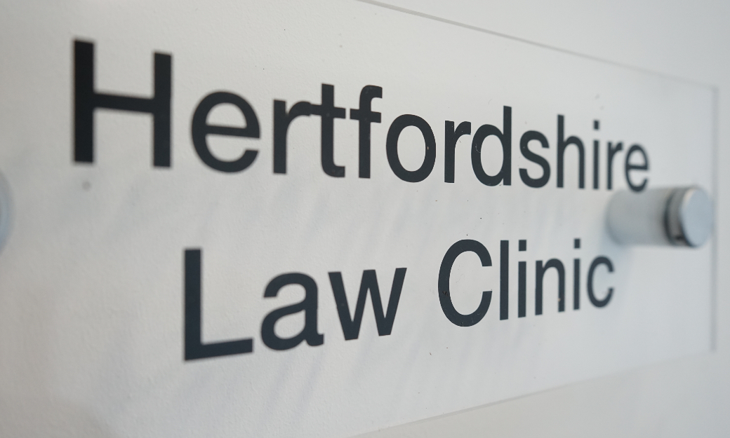 Hertfordshire Law Clinic sign