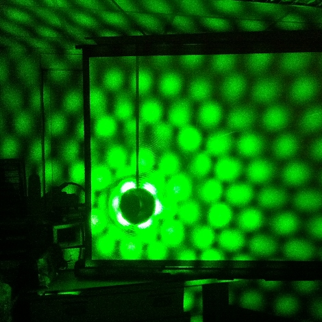 Laser light scattering in dark room