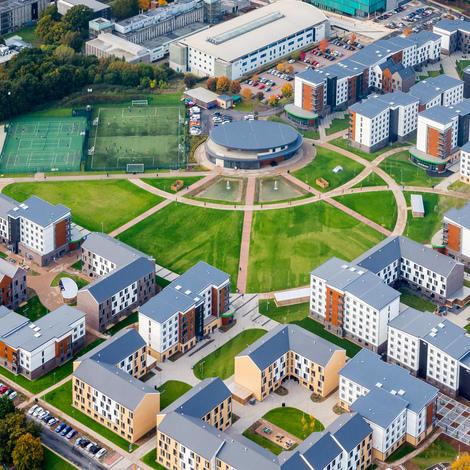 Aerial shot of college lane campus