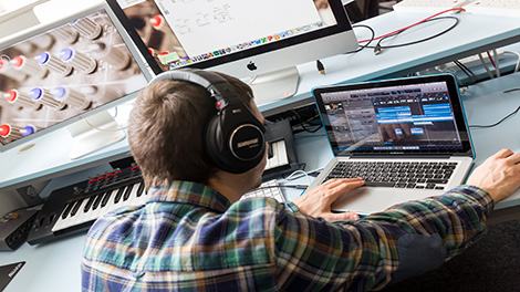 Compose, produce and implement music for games, animation and film