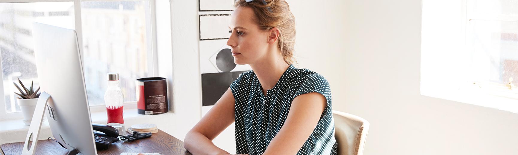 Online female student on laptop