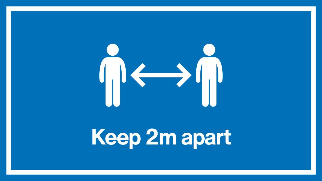 2m apart signage