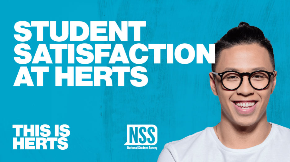 Student satisfaction text against blue background