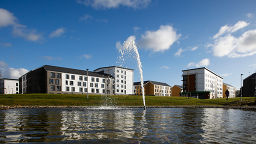 Exterior view of accommodation on College Lane Campus, with the fountain in the foreground