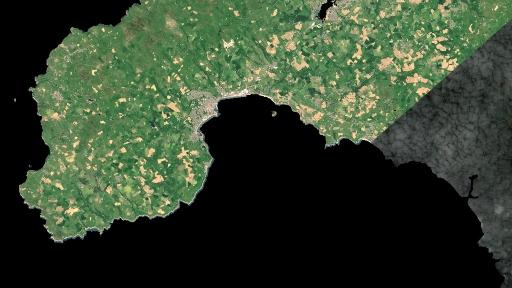 Aerial footage of land