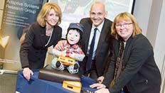 Jane Asher, KASPAR, Vice-Chancellor Quintin McKellar and Professor Kerstin Dautenhahn.