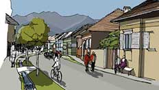 Drăguș streetscape after proposed renovations  Illustration by Klaus Birthler
