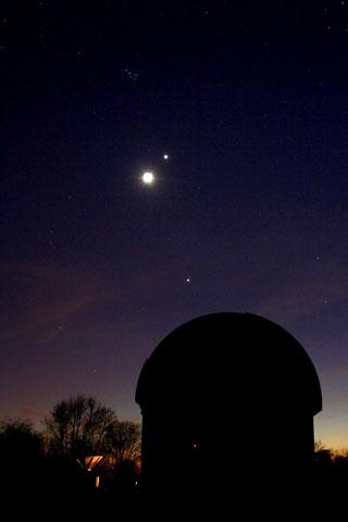 The Moon, Venus, Jupiter and the Pleiades