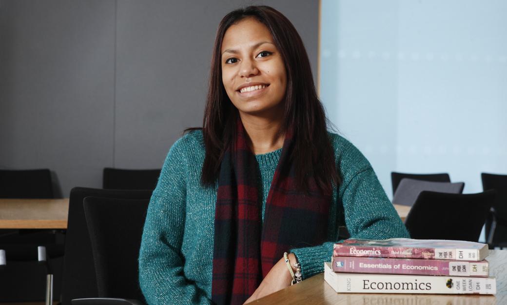 Student with economics books