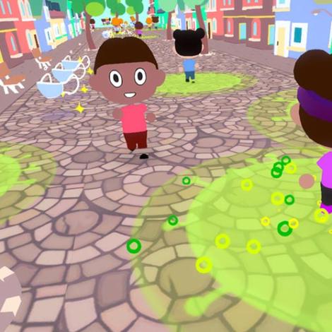 Cartoon characters moving through cartoon street
