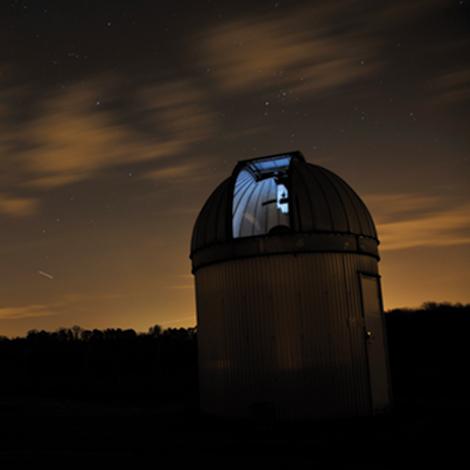Bayfordbury observatory at night