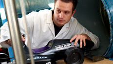 Student with model car