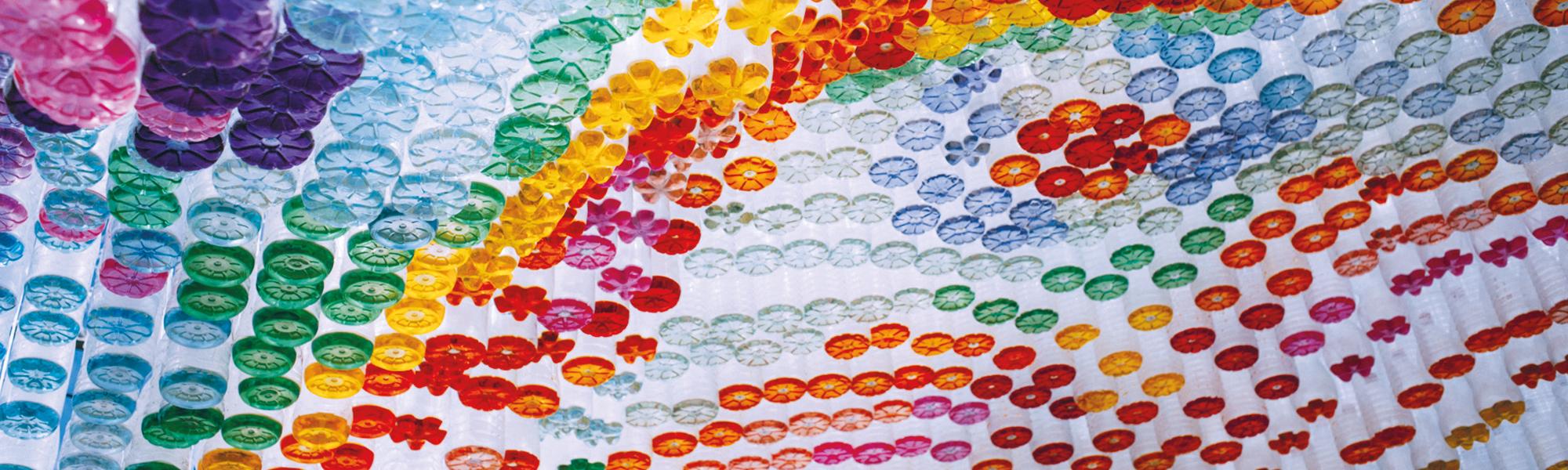 Plastic bottle rainbow art