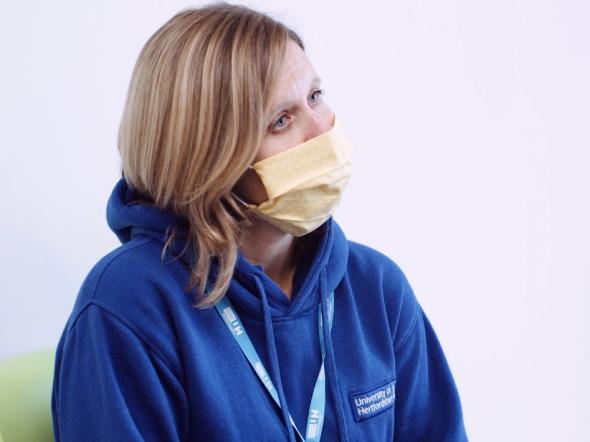 Female wearing face mask