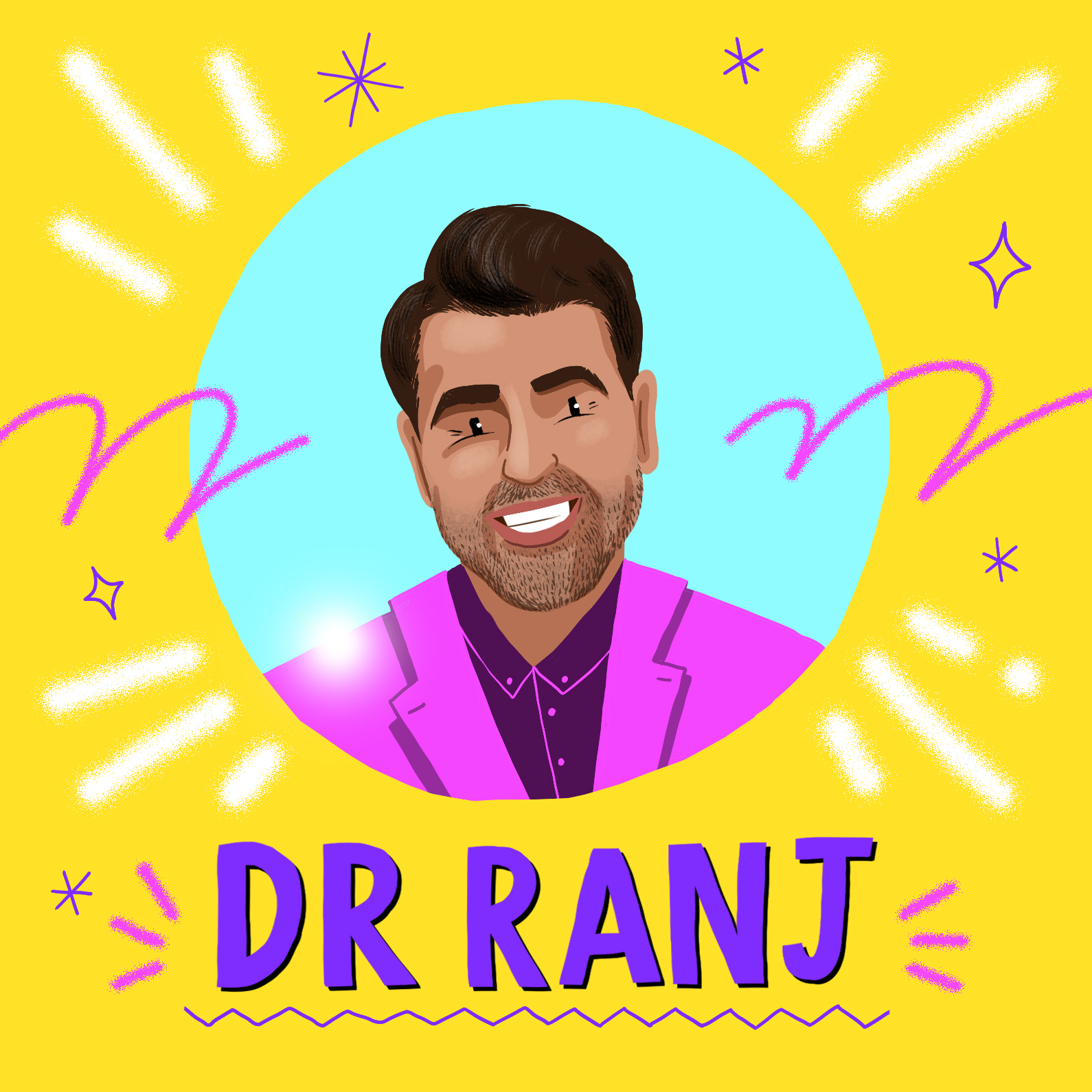 DR Ranj, smiling wearing a pink coat in front of a yellow background
