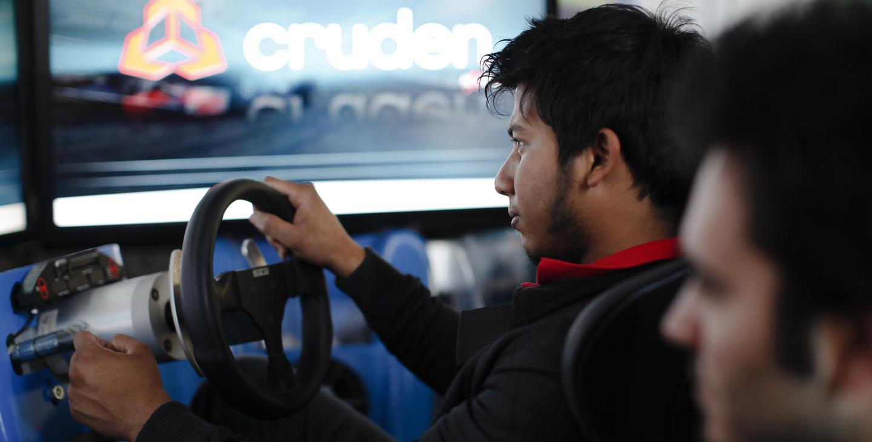 Student in car simulator