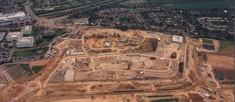 Aerial photo of the de Havilland campus development