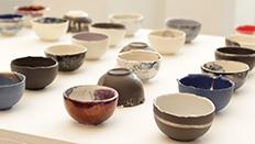rows of pots