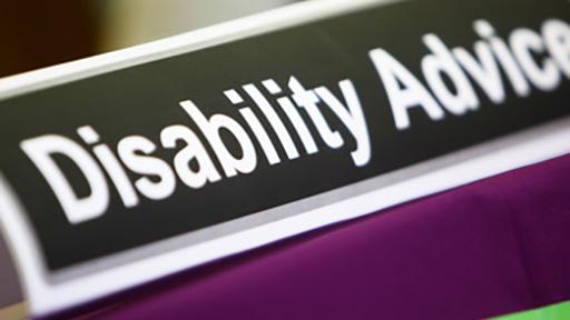 Disability Advice sign on desk