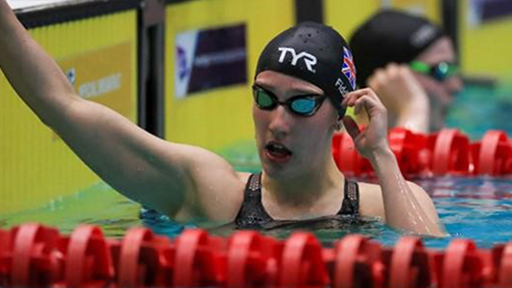Louise in the pool, competing for GB
