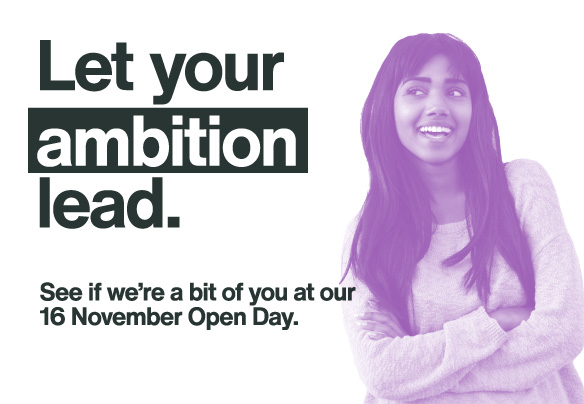 Two students promoting open day mobile