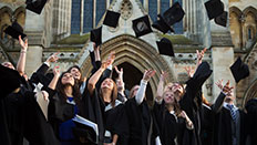 Graduates outside St Albans Abbey