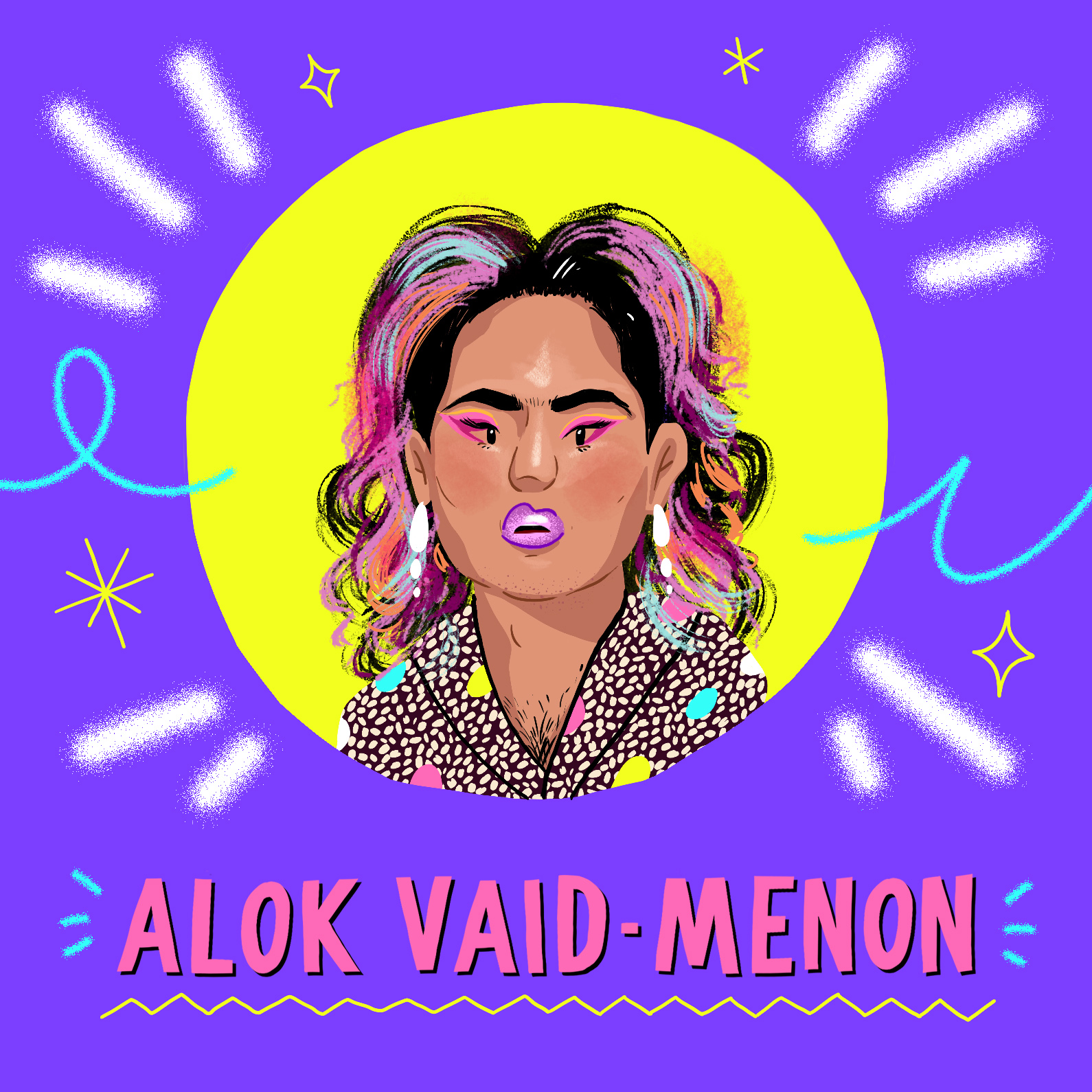 Alok Menon illustrated by Harry infront of a purple background in a yellow circle