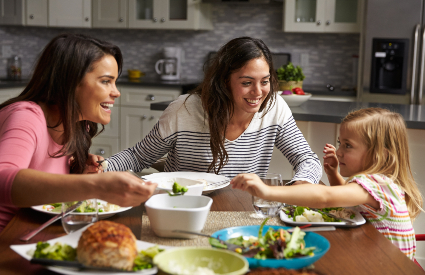 Two women and child having dinner