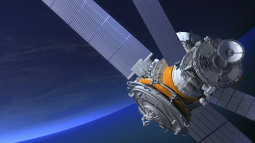 3D render of a satellite in orbit around the earth