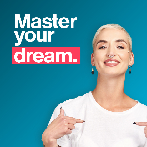 Master your dream student point at herself