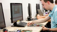 A computer sciences student working on a project