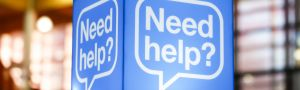Blue help sign