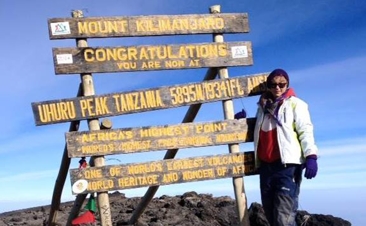 Laura standing at the top of Mt Kilimanjaro